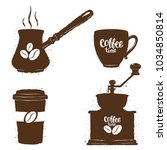 vintage coffee objects  set.... | Shutterstock . vector #1034850814