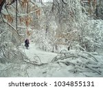 snow on the trees and frosty... | Shutterstock . vector #1034855131