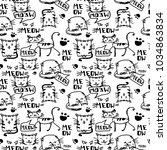 cat doodle background | Shutterstock .eps vector #1034863834