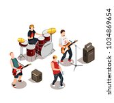 rock band with musical... | Shutterstock .eps vector #1034869654