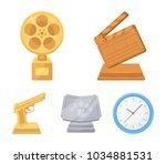 gold pistol  silver prize for... | Shutterstock .eps vector #1034881531