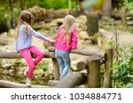 two cute little sisters... | Shutterstock . vector #1034884771