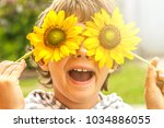 cheerful boy puts sunflowers to ... | Shutterstock . vector #1034886055