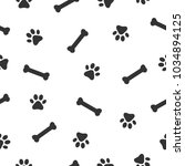 dog or cat paw and bone... | Shutterstock .eps vector #1034894125