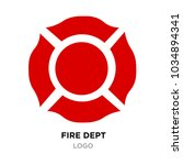 red fire dept logo with white...