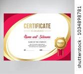 gift certificate  design.  red... | Shutterstock .eps vector #1034898781