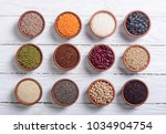 mix of cereals and beans in... | Shutterstock . vector #1034904754