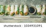 helathy asian cuisine. flat lay ... | Shutterstock . vector #1034931091