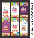pack of happy birthday card... | Shutterstock .eps vector #1034932045