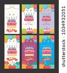 pack of happy birthday card... | Shutterstock .eps vector #1034932051