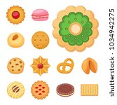 different cookie cakes top view ... | Shutterstock .eps vector #1034942275