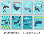 set of sea mammals pattern... | Shutterstock .eps vector #1034943175