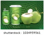 the packaging for coconut water. | Shutterstock .eps vector #1034959561
