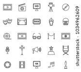 movie line icons on white... | Shutterstock .eps vector #1034962609