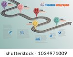 business road signs map... | Shutterstock .eps vector #1034971009