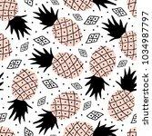seamless pattern of pineapple.... | Shutterstock .eps vector #1034987797