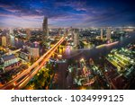 bangkok city skyline at dusk ... | Shutterstock . vector #1034999125