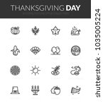outline black icons set in thin ... | Shutterstock .eps vector #1035005224
