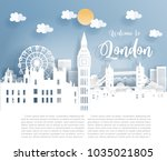 paper art with london city ... | Shutterstock .eps vector #1035021805