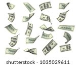 collection of flying banknotes... | Shutterstock . vector #1035029611