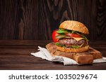 tasty grilled home made burger... | Shutterstock . vector #1035029674