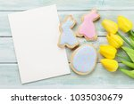 easter gingerbread cookies and... | Shutterstock . vector #1035030679