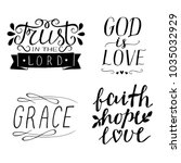 set of 4 hand lettering... | Shutterstock .eps vector #1035032929