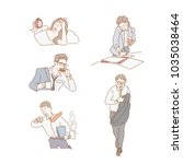 busy and late business people.... | Shutterstock .eps vector #1035038464