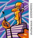 great cubist portrait | Shutterstock .eps vector #1035040531