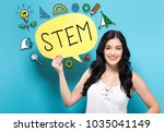 stem with young woman holding a ... | Shutterstock . vector #1035041149