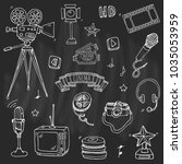 hand drawn doodle cinema set.... | Shutterstock .eps vector #1035053959
