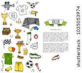 hand drawn doodle soccer set...   Shutterstock .eps vector #1035053974