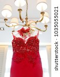 red lace evening gown dress   Shutterstock . vector #1035055021