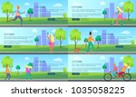 city park with people spending...   Shutterstock .eps vector #1035058225