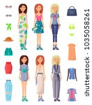 ladies and summer mode set of... | Shutterstock .eps vector #1035058261