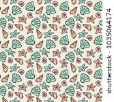 ocean pattern with hand drawn... | Shutterstock .eps vector #1035064174