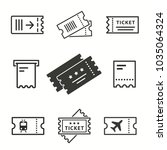 Ticket Vector Icons Set. Black...