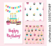 happy birthday greeting card.... | Shutterstock .eps vector #1035073489