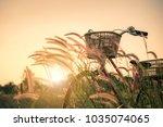 retro bicycle in summer grass... | Shutterstock . vector #1035074065