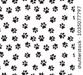 dog paw print vector seamless... | Shutterstock .eps vector #1035077797