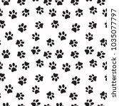 dog paw print vector seamless... | Shutterstock .eps vector #1035077797