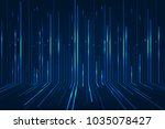 abstract blue lines on dark... | Shutterstock .eps vector #1035078427