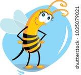 Cute Cartoon Bee Vector...