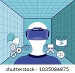 virtual reality technology set... | Shutterstock .eps vector #1035086875