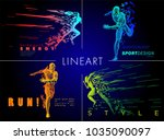 art concept of a running man.... | Shutterstock .eps vector #1035090097