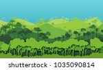 green silhouette forest... | Shutterstock .eps vector #1035090814
