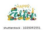 happy easter lettering. modern... | Shutterstock .eps vector #1035092551