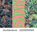 set of three seamless floral... | Shutterstock .eps vector #1035094969