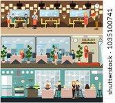 restaurant interior set with... | Shutterstock . vector #1035100741