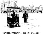 hand drawn sketch of turkish... | Shutterstock .eps vector #1035102601